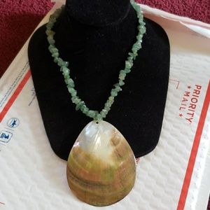 Jewelry - Vintage jade and shell necklace